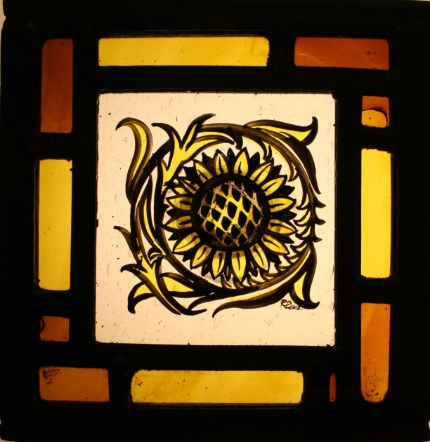 Panel 27 - Large Petal Sunflower, Yellow and Amber Border 14cm x 14cm £50
