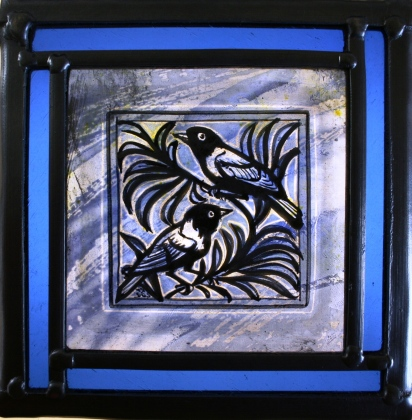 Panel 19 - Two Birds on Branch, Blue and Turquoise. 16,5cm x 16.5cm £65