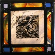 Panel 20 -Two Birds in a Branch, Multi Border 17.5cm x 17.5cm £68