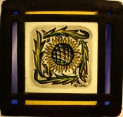 Panel 24 - Small Petal Sunflower, Purple and Amber Border *SOLD*