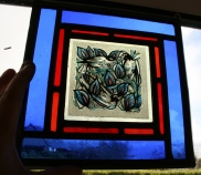 Groupd of Birds Stained Glass Panel
