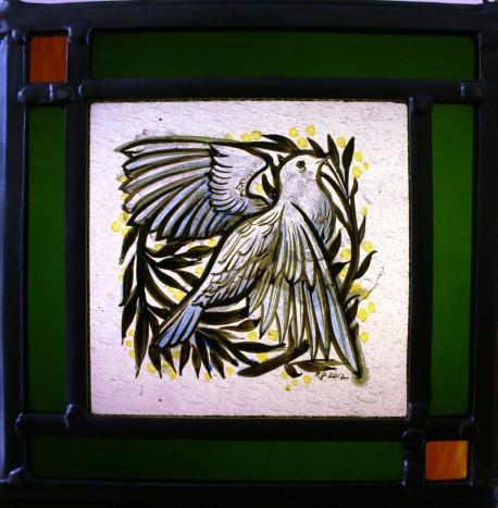 Panel 16 - White Dove, Green Border 18cm x 18cm £68