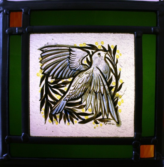 Panel 16 - White Dove, Green Border 18cm x 18cm £68