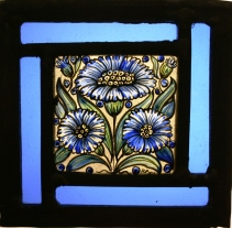 Panel 8- Three Blue Daisies, Turquoise Border 12 cm x 12cm £48.50