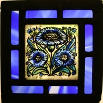 Panel 9- Three Blue Daisies, Blue Border  *SOLD*