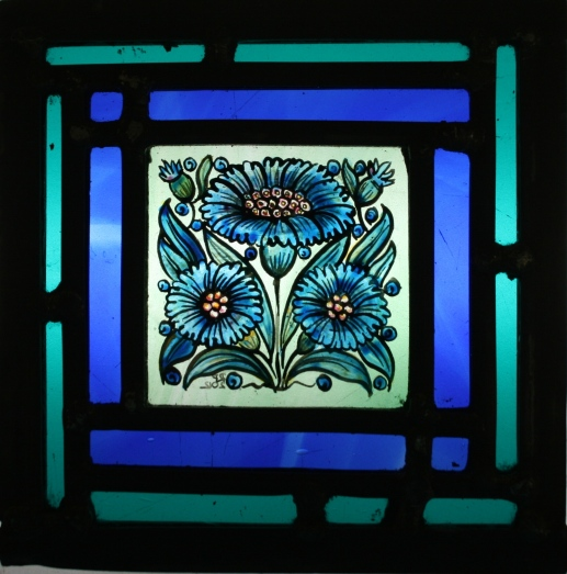 Panel 10 - Three Blue Daisies, Double Border *SOLD*