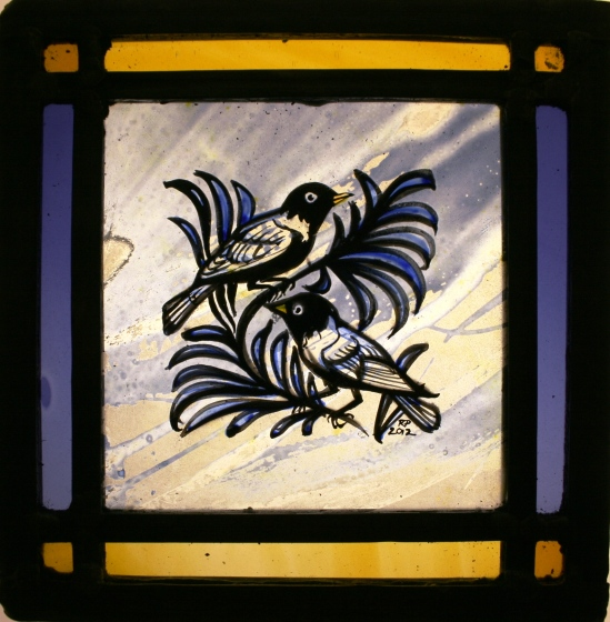Panel 18-Two Birds on a Branch, Purple and Amber Border*SOLD*