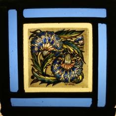 Panel 11 -Two Blue Crysanthymums, Blue border. 14 cm x 14cm £55