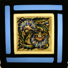 Panel 11 -Two Blue Crysanthymums, Blue border. 14 cm x 14cm £55