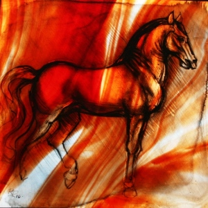 Red Horse 2010 Glass painting on antique glass. Inspired by Da Vinci sketches